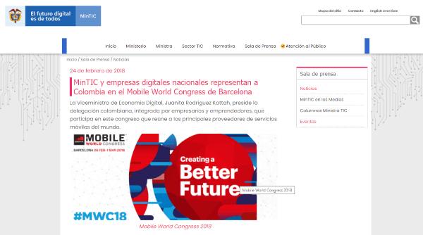 Publicación MinTic sobre SmartQuick en Word Mobile Congress Barcelona 2018